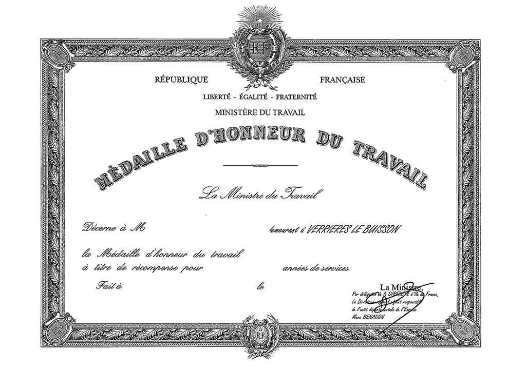 Diplôme de la médaille d'honneur du travail