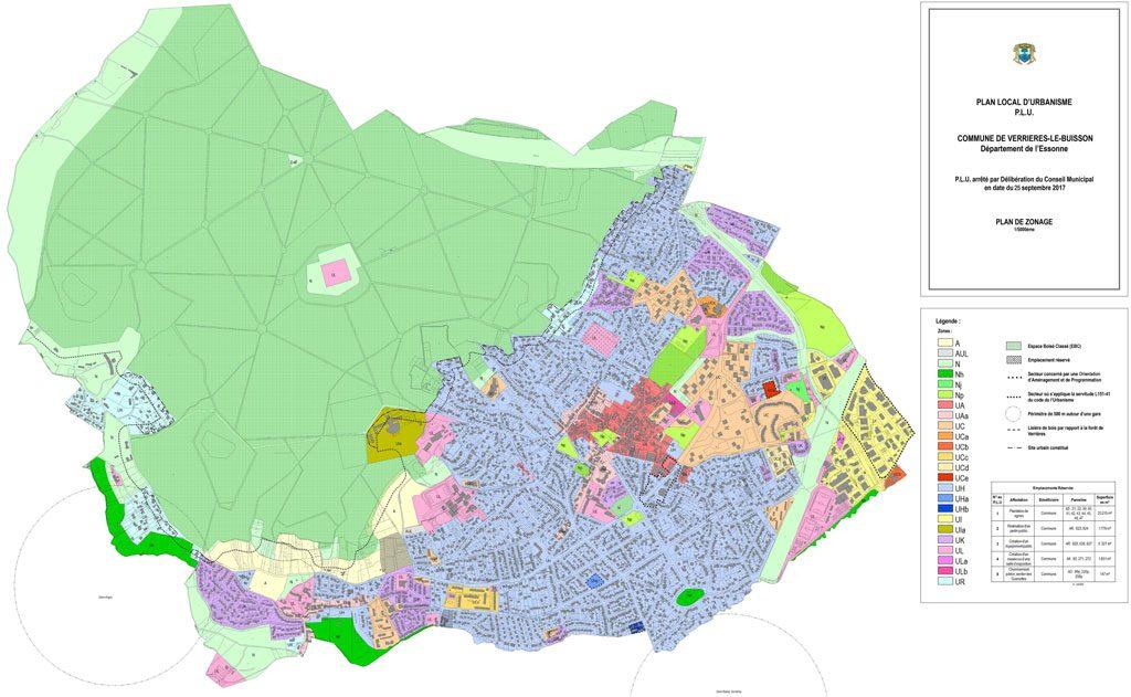 PLU - Plan de zonage du PLU arrêté en cours de révision