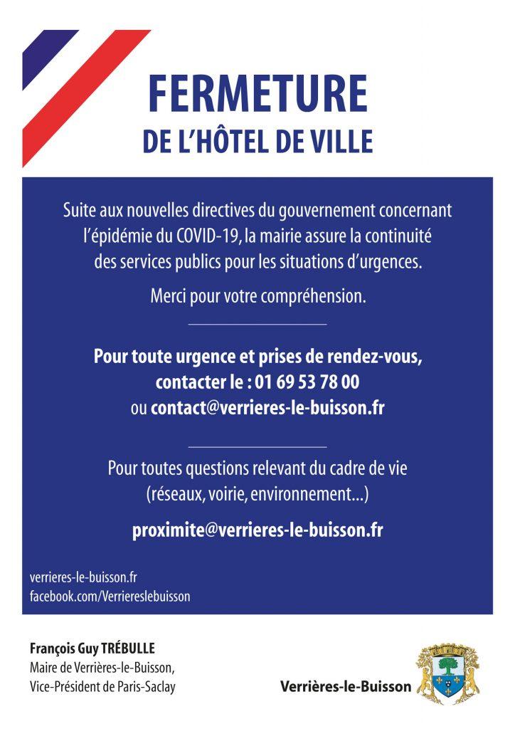 FERMETURE DE L'HÔTEL DE VILLE de Verrières-le-Buisson